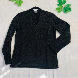 Ann Taylor black and Gold Sparkly sweater